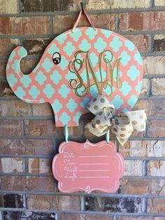 Baby Elephant Nursery/Hospital Door Hanger от craftigirlcreations
