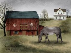 Old Grey Mare ~ In Old Grey Mare, folk artist Billy Jacobs sets the spotlight on a single horse grazing in a pasture. The grey horse is grazing outside of a large red barn, complete with Billy Jacobs' signature five-pointed stars painted on the side. A dirt road leads up the hill to a traditional country farmhouse.