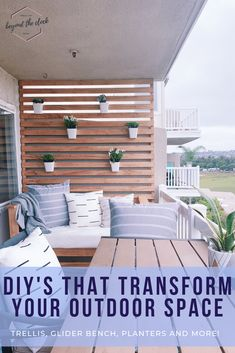 Easy DIYs to make your outdoor patio, balcony, or deck feel like home. Glider swing, trellis wall, and planters plus simple outdoor decor ideas that elevate any look on a budget. Budget Patio, Patio Diy, Wood Patio, Outdoor Deck Decorating, Patio Decorating Ideas On A Budget, Outdoor Decor, Decor Ideas, Porch Decorating, Outdoor Wall Decorations