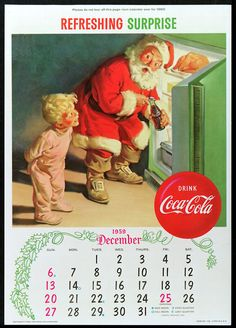 Vintage Coca Cola Ad Calendar 1959 ~ Santa And Little Boy