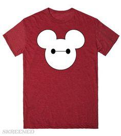 Baymax Mickey  Printed on Skreened T-Shirt