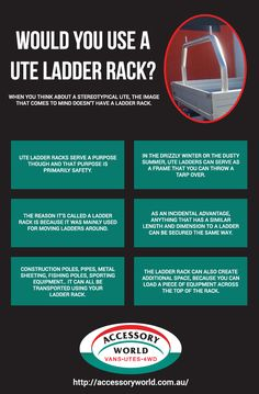 There are various benefits of Ute Ladder Rack. It provides the transport safety and extra additional space to load more equipment. Look at this info-graphic and know about it ladder rack.