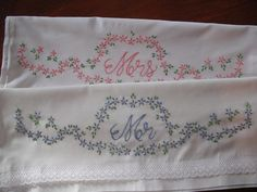 Mr And Mrs Embroidered Pillowcases Wedding gift by Rocknrobin