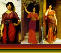 Though influenced by the greco-roman era, John William Godward, The Victorian Neo-classicist painter (1861-1922) also seems to have reinvented these fashions using bold colors that are probably not accurate to the roman era. Thus he rather was ahead of his time in his use of color/color blocking. Ironic since he seemed so obsessed with the past.