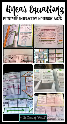 15 Interactive notebook pages on linear equations. Foldables include ordered pair review, slope, slope intercept form, writing linear equations, graphing, point slope form, horizontal and vertcal lines, x and y intercepts, parallel and perpendicular lines and more! Instructions and suggested answers included!