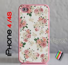 white and pink floral iphone 4 case