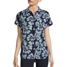 Lafayette 148 New York Irina Cotton Floral-Print Blouse ($139) ❤ liked on Polyvore featuring tops, blouses, apparel & accessories, blue blouse, floral print tops, button front blouse, flower print blouse and button front top