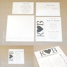 Embossed heart paper with personalised monogram on a fold-over style invitation.
