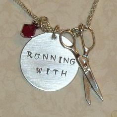 Running+Charms+For+Necklaces | Running with Scissors Hand Stamped Sterling Silver Charm Necklace