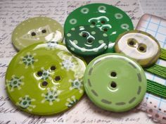 BIG Chipboard Epoxy Buttons-Set of 6-Monochromatic Green Collection-Embroidery Floss Included