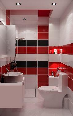 Баня в червено Bathroom Design Small, Bathroom Interior Design, Modern Interior, Modern Furniture, Bathroom Red, Modern Bathroom, Glitter Paint For Walls, Cheap Bathroom Remodel, Home Stairs Design