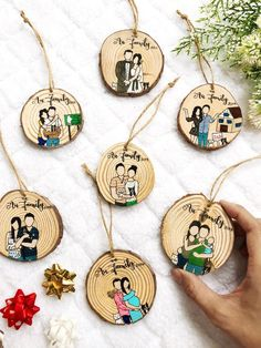 Family Ornament,Housewarming Gift,Family Cartoon,Custom Family Portrait,Custom O. Resin Crafts, Wood Crafts, Cartoon Familie, Personalized Gifts, Handmade Gifts, Family Ornament, Wood Burning Art, Wood Ornaments, Gifts For Family