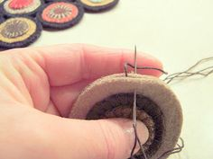 """In episode 373 - How to Stitch a Penny Rug; The stack"""" with a """"personal backing"""" by Colleen MacKinnon Penny Rug Patterns, Felt Patterns, Print Patterns, Felted Wool Crafts, Felt Crafts, Wool Felting, Fabric Art, Fabric Crafts, Wool Quilts"""