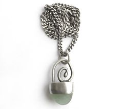 Aqua English Seaglass Beach Glass Bezel Set Necklace by SToNZ