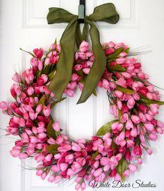 Guirnalda de tulipán de color rosa Guirnalda por WhiteDoorStudios