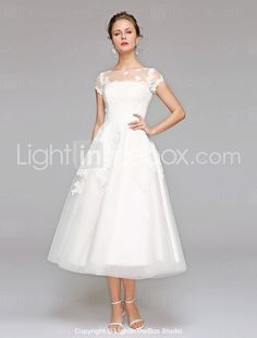 3addcda7 [$159.99] Ball Gown Bateau Neck Tea Length Lace Over Tulle Made-To-Measure  Wedding Dresses with Appliques / Lace by LAN TING BRIDE® / Illusion Sleeve  ...