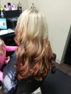 Reverse ombre blond to red