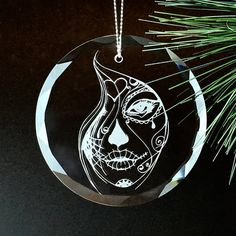 Crystal Sugar Skull Ornament 4  Round Christmas by CandidNomad