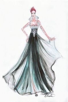 Blanka Matragi – sketch of dresses @}-,-;--