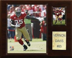 """NFL Vernon Davis San Francisco 49ers Player Plaque by C Collectables. $25.00. 12"""" X 15"""" cherry wood plaque. Officially Licensed Trading Card. Perfect for displaying in an office, rec room or bedroom. Licensed 8?x10? Vernon Davis Photo. Full lens covers to protect cards, pictures. NFL Vernon Davis San Francisco 49ers Player Plaque"""