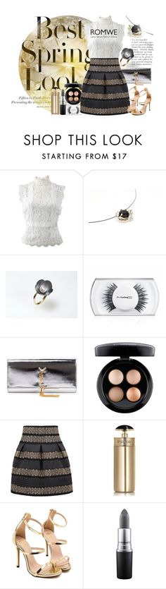 """""""Gold moon"""" by giampourasjewel ❤ liked on Polyvore featuring H&M, Oscar de la Renta, MAC Cosmetics, Yves Saint Laurent and Prada"""