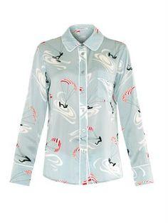 Isabella stretch-silk pyjama shirt