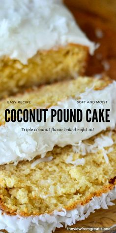 My Triple Coconut Pound Cake is a triple threat coconut experience for serious coconut lovers only! No Bake Desserts, Easy Desserts, Delicious Desserts, Dessert Recipes, Coconut Pound Cakes, Pound Cake Recipes, Coconut Recipes, Baking Recipes, Cake Recipes From Scratch