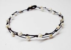 4mm white pearl wax cord Anklet by KJkongkiet on Etsy, $4.00