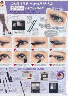Grayish eye makeup