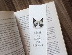 Grumpy Cat Bookmark Leave Me Alone I'm Reading Cat Lover Bookmark Funny Cat Bookmark Cute Bookmark Gift for Reader Gift for Bookworm (4.50 USD) by WonderFlies