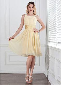 Chic Chiffon Natural Waistline Knee-length A-line Bridesmaid Dresses