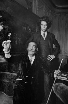 Salvador Dali and Yves Saint Laurent. Dali appears to have been an elite occult mind controller, and Yves St. Laurent, as a fashion industry Big Man, is almost certainly also tied to mind control and the occult elite. Yves Saint Laurent, Saint Yves, Foto Poster, Robert Frank, Portraits, Famous Faces, Famous Artists, Ikon, Old Photos