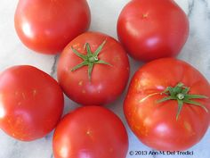 """Tomato ~ Tomatoes ~ from the Farmers' Market this morning. These are """"Big Beef"""" variety. Photo © 2013 Ann M. Del Tredici"""