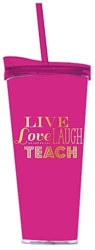 Live Love Laugh Teach 22oz Hot Pink Double Walled Insulated Tumbler by Slant by Slant Collection *** Want additional info? Click on the image.