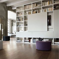 The Lema proposals in Saloni New elements enrich the sleeping and living area Fernseher Living Room Shelves, Living Room Tv, Living Area, Dining Room, Tv Escondida, Tv Bookcase, Bookcases, Home Theaters, Casa Top