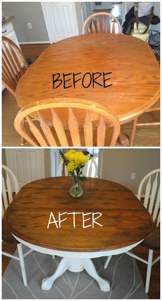 How to give your wood table a complete shabby chic makeover using wood stain and. How to give your wood table a complete shabby chic makeover using wood stain and Annie Sloan chalk paint. Shabby Chic Homes, Shabby Chic Decor, Shabby Chic Kitchen Table, How To Shabby Chic Furniture, Shabby Chic Table And Chairs, How To Shabby Chic A Table, Shabby Chic Dressers, Repurposed Furniture, Painted Furniture