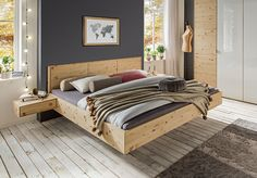 "Floating bed ""Cervino"" – made of solid pine wood allnatura. Furniture Dolly, Bedroom Furniture, Furniture Design, Pallet Bed Frames, Floating Bed, Wooden Bedroom, House Beds, Diy Bed, Colorful Furniture"