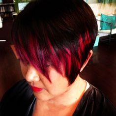 Hair Color Makeover: Asymmetrical Cut with Vivid Pops of Color | The Colorist