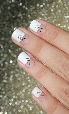 Square + White and Gold #nails