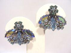 Vintage Signed SCHREINER NEW YORK Layered Earrings Blue  Aurora B Rhinestones    #SCHREINERNEWYORK #CliponEarrings
