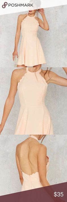{nastygal} scalloped peach pink halter dress Buttoned halter neck with adorable scallop hems around chest and at bottom of dress. Never worn worn with tag. Nasty Gal Dresses