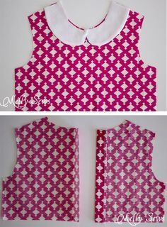 Faux Peter Pan Collar Dress - with FREE pattern - Step 2 – Fiesta Frock – such a cute girls dress! Free faux Peter Pan Collar dress pattern and instructions for more sizes from Melly Sews Source by denissovaludmil - Baby Dress Patterns, Sewing Patterns For Kids, Baby Dress Tutorials, Cute Girl Dresses, Little Girl Dresses, Sewing Collars, Shift Dress Pattern, Peter Pan Collar Dress, Toddler Dress