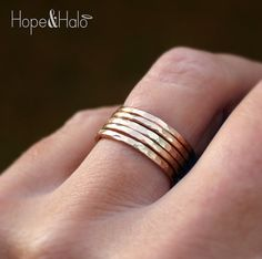 Gold Stacking Ring Set with Hammered Texture, Includes 5 12K Yellow Gold Filled Stack Rings