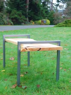 Natural Edge Cypress and Brushed Steel Bench