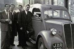 The Kray Twins: Gangsters Ronnie and Reggie, (From left) Dickie Morgan, Harry Abrahams, Reggie Kray and Charlie Kray in Bethnal Green, London Real Gangster, Mafia Gangster, Vintage London, Old London, The Krays, East End London, London History, Al Capone, Lifelong Friends