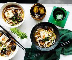 Udon noodle soup with shiitake mushrooms and tofu :: Gourmet Traveller Magazine Mobile Tofu Recipes, Noodle Recipes, Asian Recipes, Gourmet Recipes, Vegetarian Recipes, Ethnic Recipes, Udon Noodle Soup, Udon Noodles, Asian Noodles
