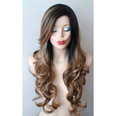 Dark roots Brown Dirty blonde/ Ash blonde mixed color wig. Long curly... ($160) ❤ liked on Polyvore featuring beauty products, haircare, hair styling tools, hair and curly hair care