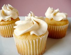 Vanilla Cupcakes with Vanilla Buttercream Frosting | Brown Eyed Baker (adapted from Cook's Illustrated). Good basic (and FAST) vanilla cupcake. Dyes nicely!