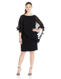 Xscape Women's Plus-Size Short Ity with Ruffle Trim Chiffon Overlay >>> Check out this great image  : Women clothing