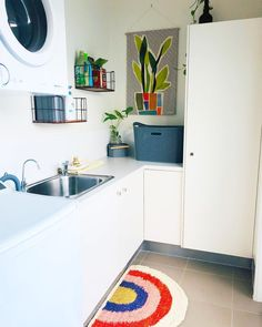 """Wall Art + Decor + Clothing's Instagram post: """"Laundry room spruce up... 👉Swipe across for the before. ⠀⠀⠀⠀⠀⠀⠀⠀⠀⠀⠀⠀ This room has been making me feel all flat and uninspired so…"""" Door Mats, Wall Hangings, Wall Art Decor, Laundry Room, Kitchen Cabinets, Kids Rugs, Flat, Instagram Posts, Clothing"""